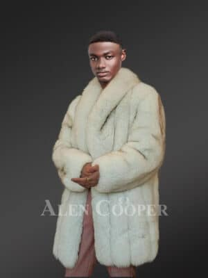 Men's Parallel Pattern Authentic Frost Fox Fur Coat