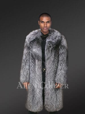 Men's Premium Knitted Silver Fox Fur Long Coat