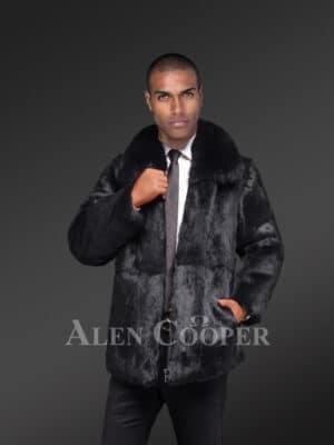 Men's Rabbit Fur Jacket with Fox Fur Collar in Black