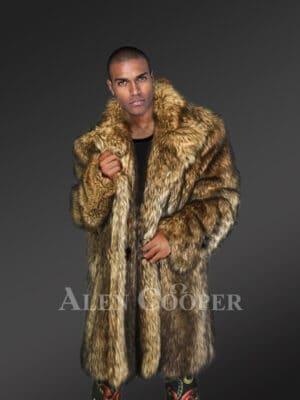 Men's Raccoon Fur 34 Length Coat with wide Lapel Collars