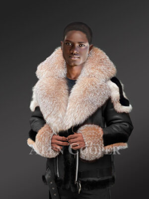 Men's Shearling Jacket with Crystal Fox Fur Hood Lapels and Cuffs
