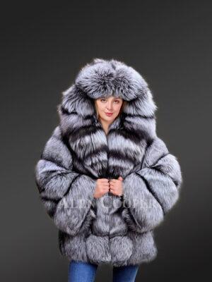Mid length Coat in Fox Fur Women's