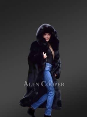 Premium Fox Fur Long Coat for Womens view