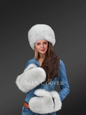 Real Fox Fur Russian Hat with Muffs