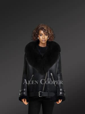 Shearling Jacket With Fox Fur Collar and Lapels for Women