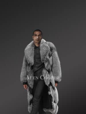 Stylish Silver Fox Fur Coat with Block Pattern