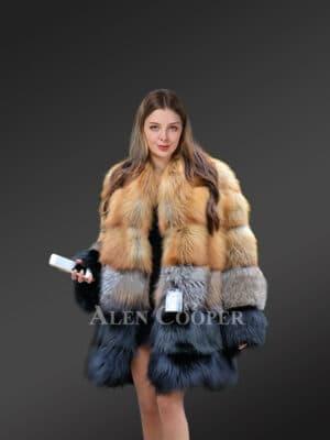 Women Multi Fox Red Fox Coat Mixed with Silver Fox