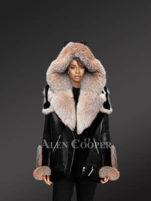 Womens Exclusive Shearling Jacket With Crystal Fox Fur Hood Lapelsand Cuffs