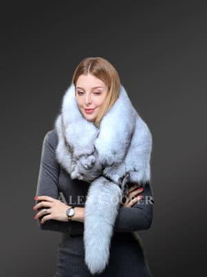 Womens Real Frost Fox Fur Collar Scarf