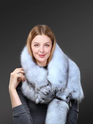 Womens Real Frost Fox Fur Collar Scarf views