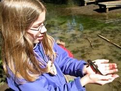 Outdoor School girl holding newt