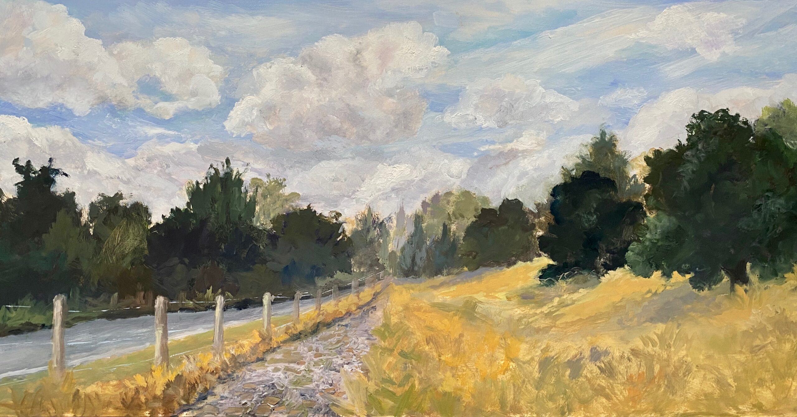 This is a painting of a scene I view practically daily while walking my dog Maddie at the Horse Park. Wonderful clouds decorate the landscape.