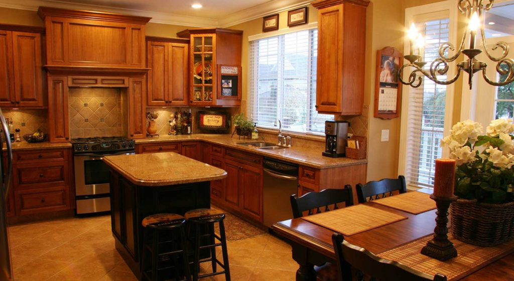 marble counter tops in country kitchen