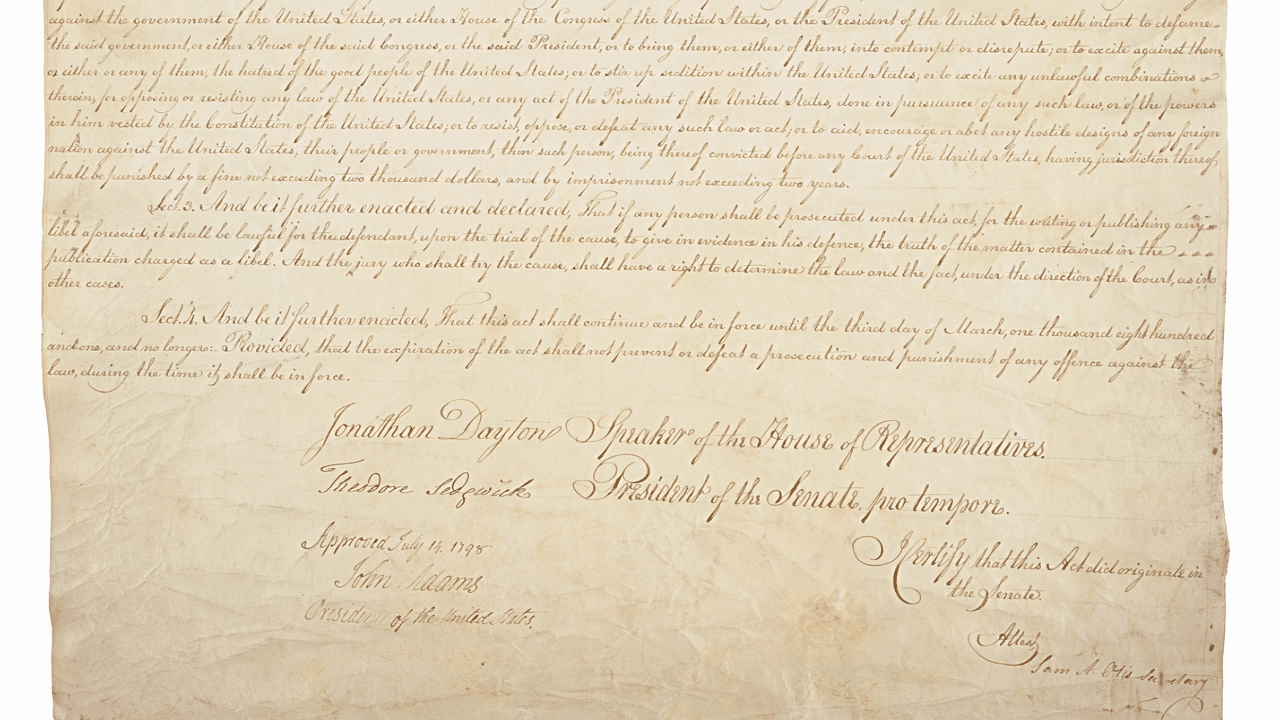 Today in History: John Adams Signs the Sedition Act ...