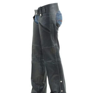 Women Black Leather Chaps