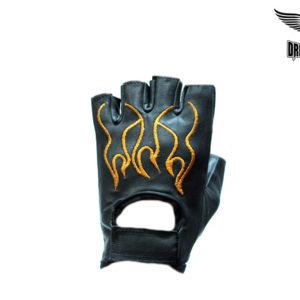 Biker Fingerless Gloves With Orange Flames