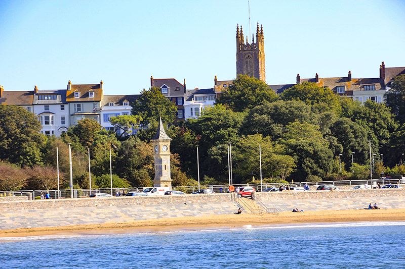 Exmouth Church, clock, and Seawall