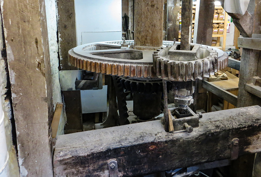 The gears that move the stone wheels to make the flour