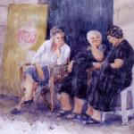 Chat Room, Crete Watercolor 18x20