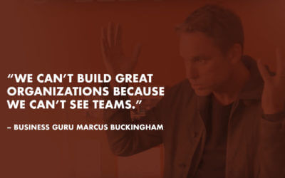 """We can't build great organizations because we can't see teams."" – business guru Marcus Buckingham."
