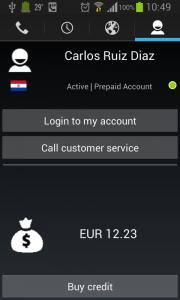 Customer information screen