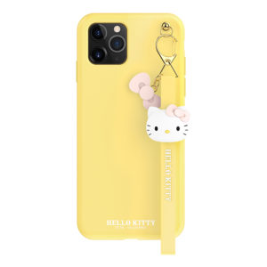 Sanrio Authentic Hello Kitty Silicon Yellow with Strap Lanyard Case [iPhone 11 Series]