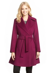 trina turk violet wool blend wrap coat