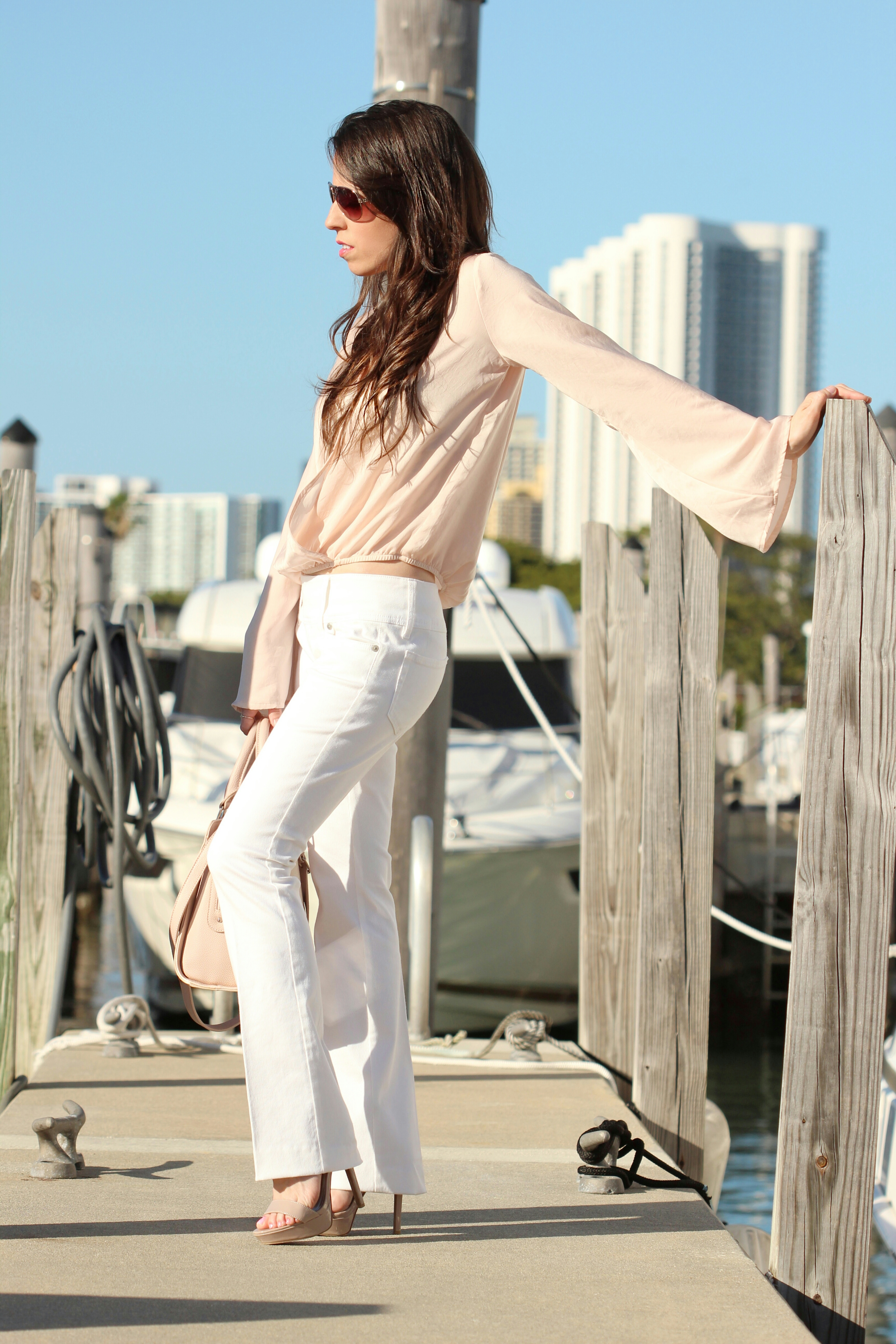 soft pink bell sleeves