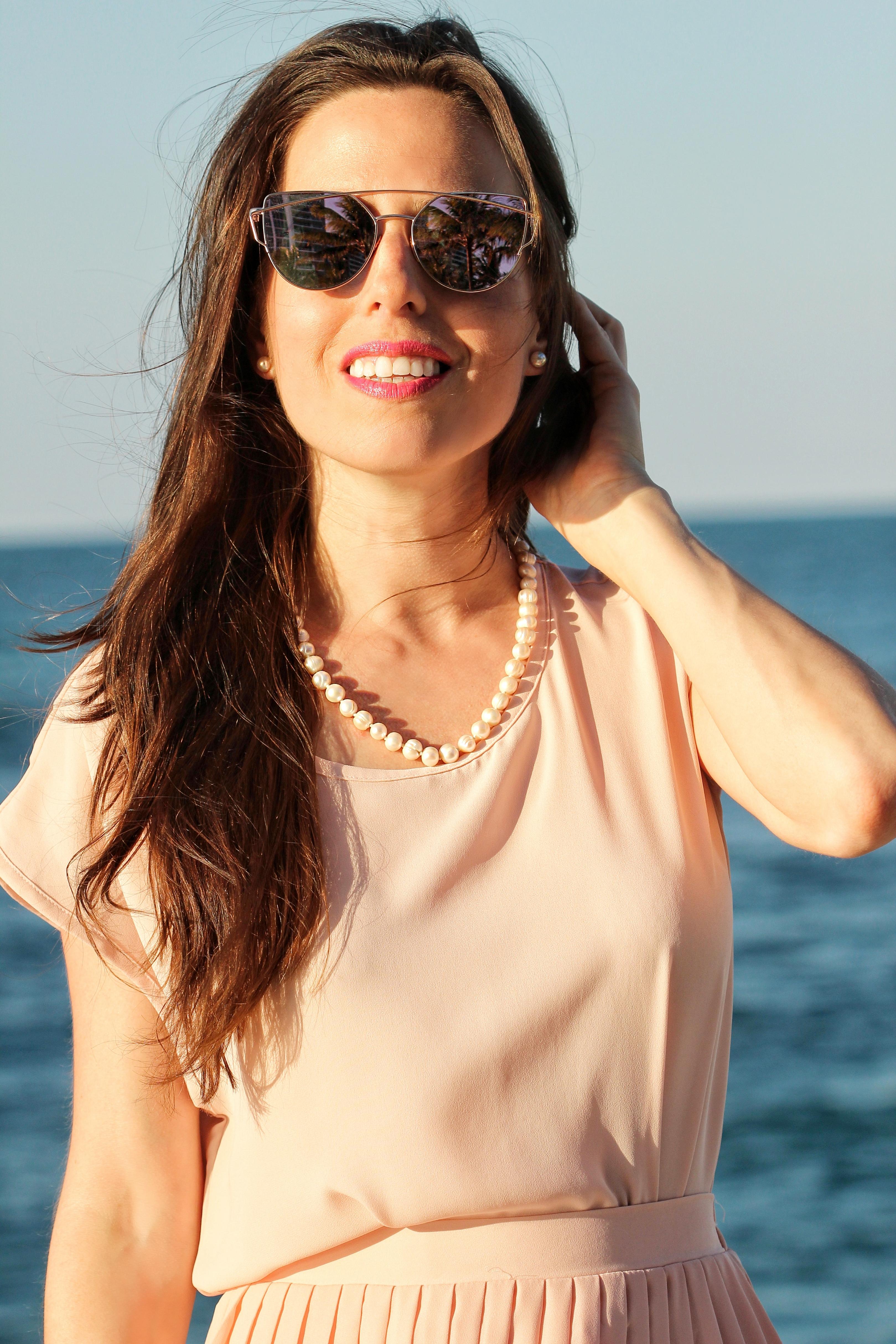 pink mirrored sunglasses