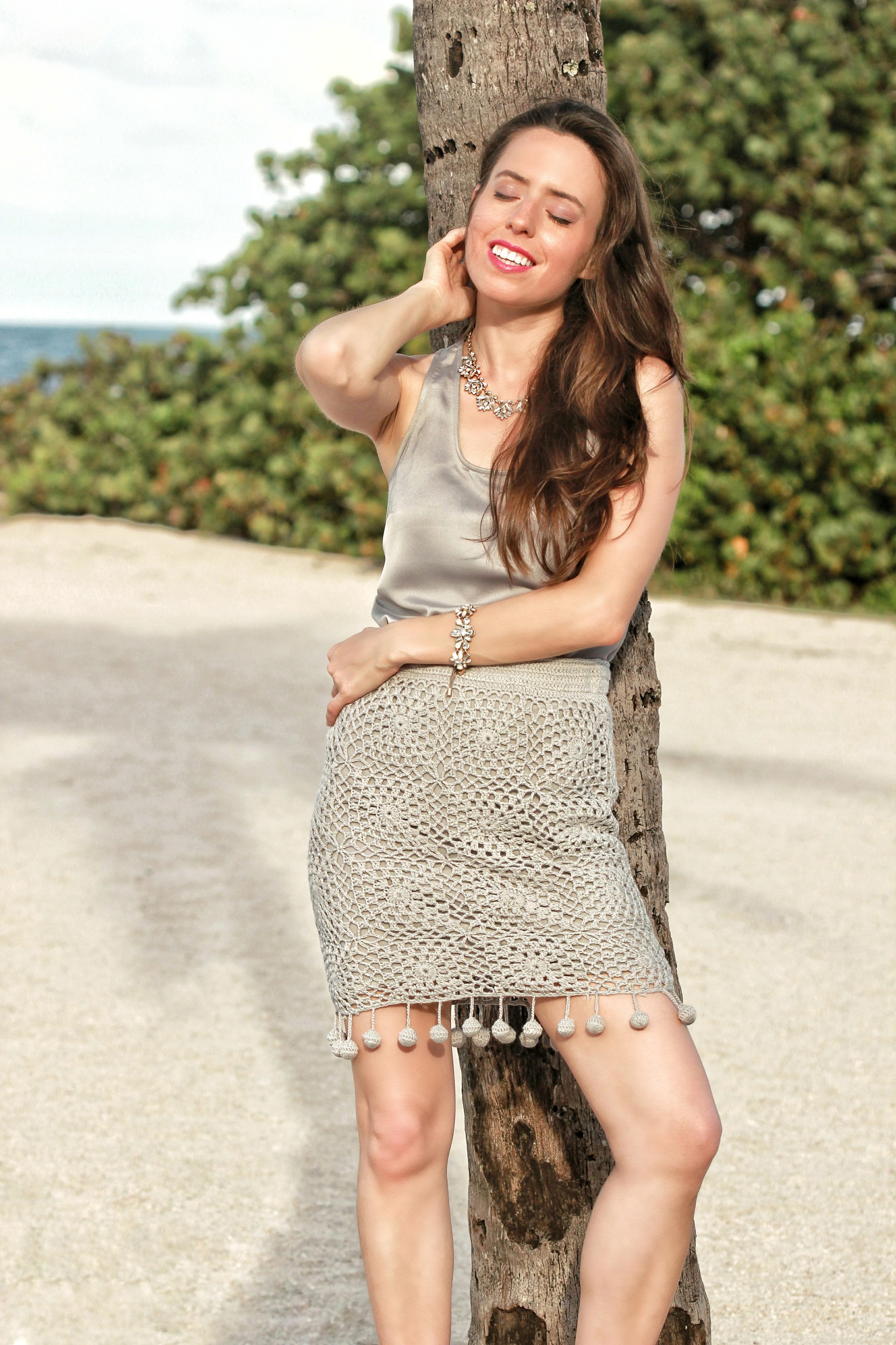 fitted crochet skirt