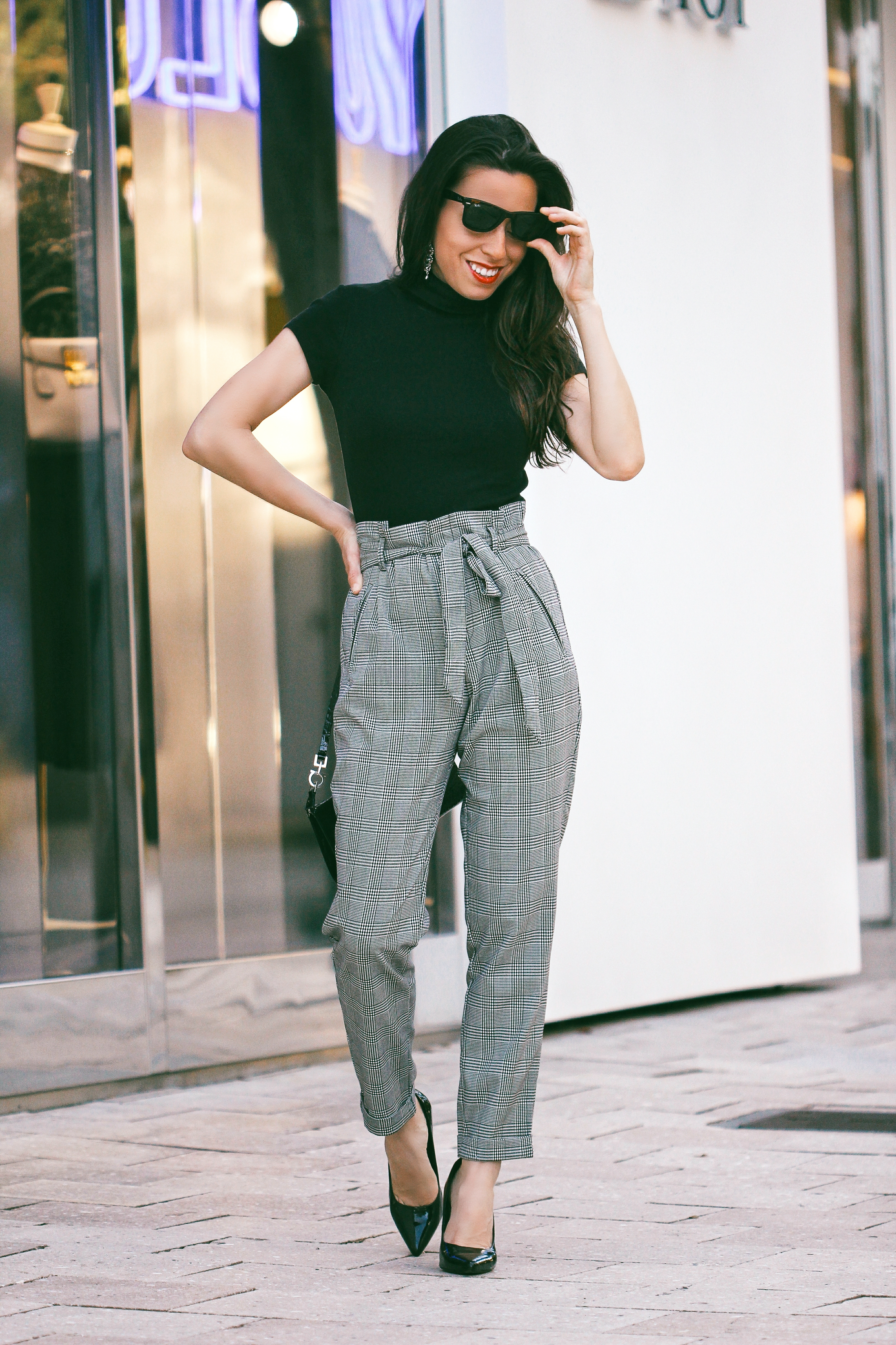 checkered print grey pants checked trousers
