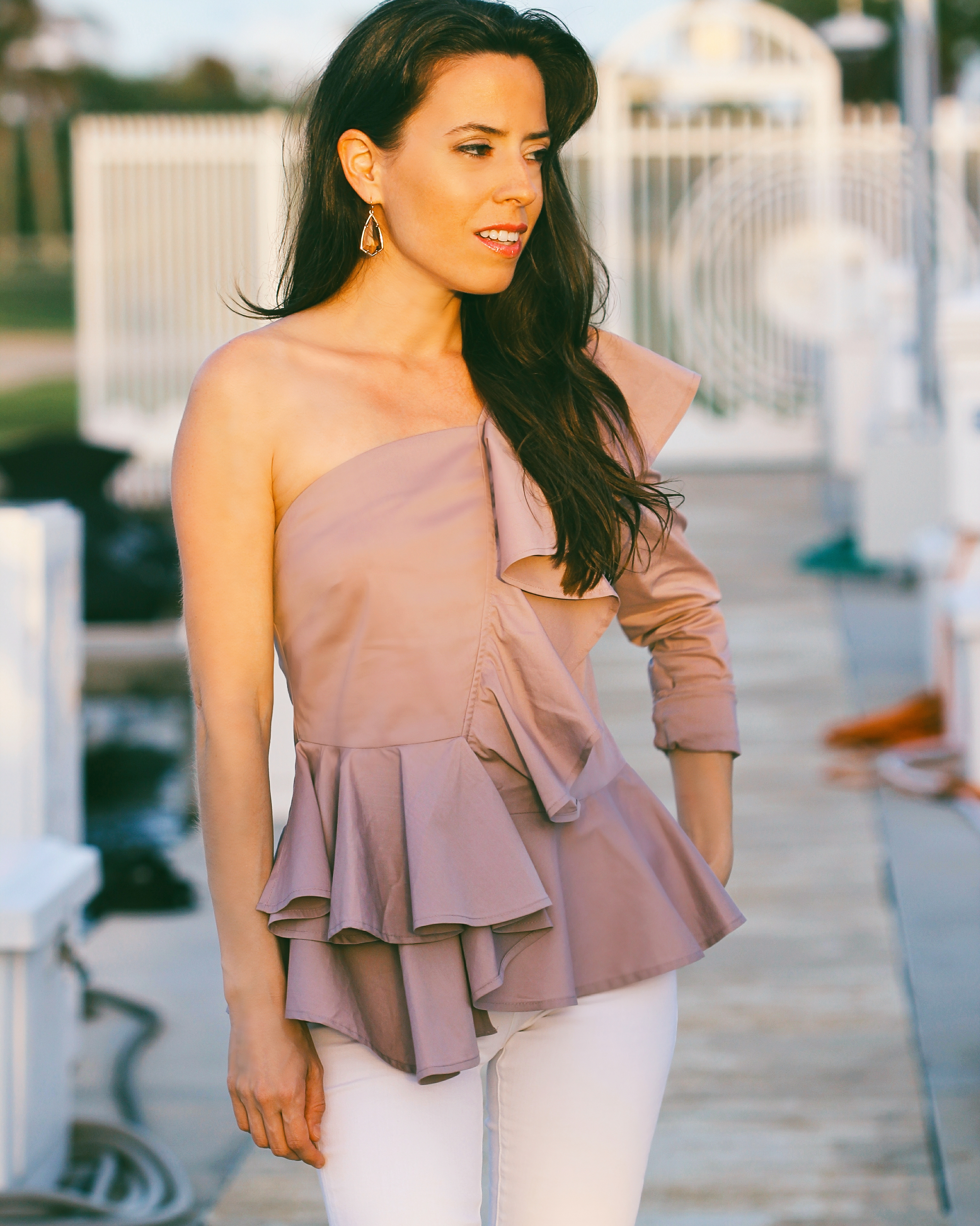 ruffle one shoulder