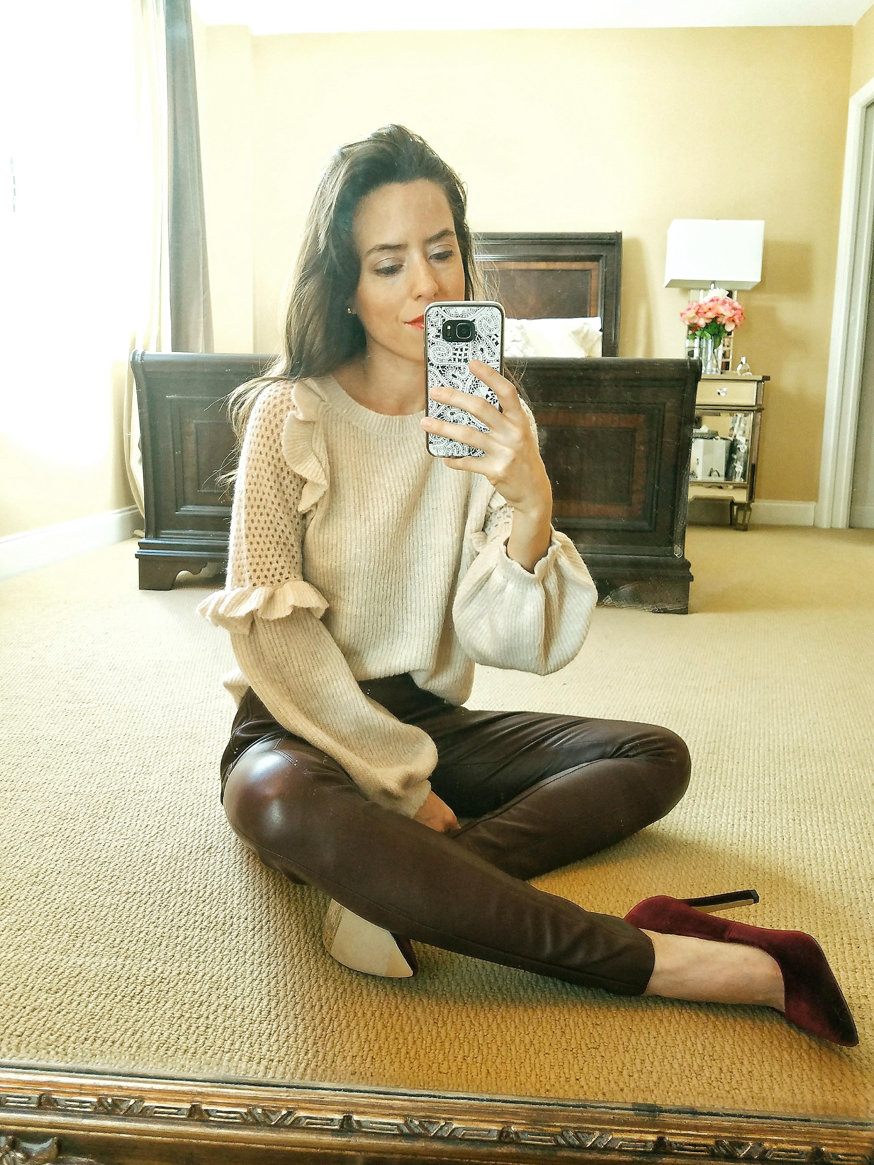 balloon sleeve ruffle sweater miami blogger