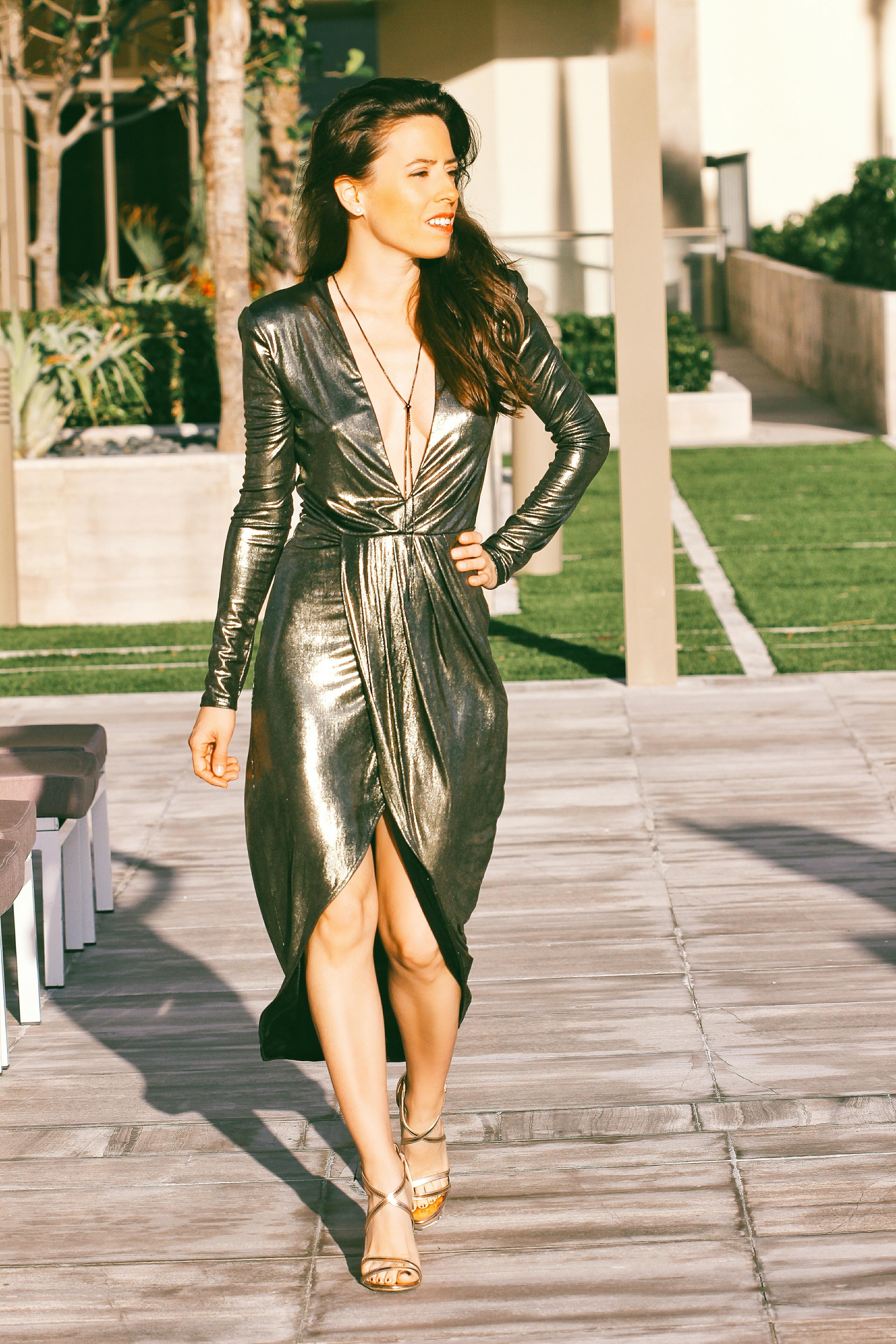 metallic dress new years