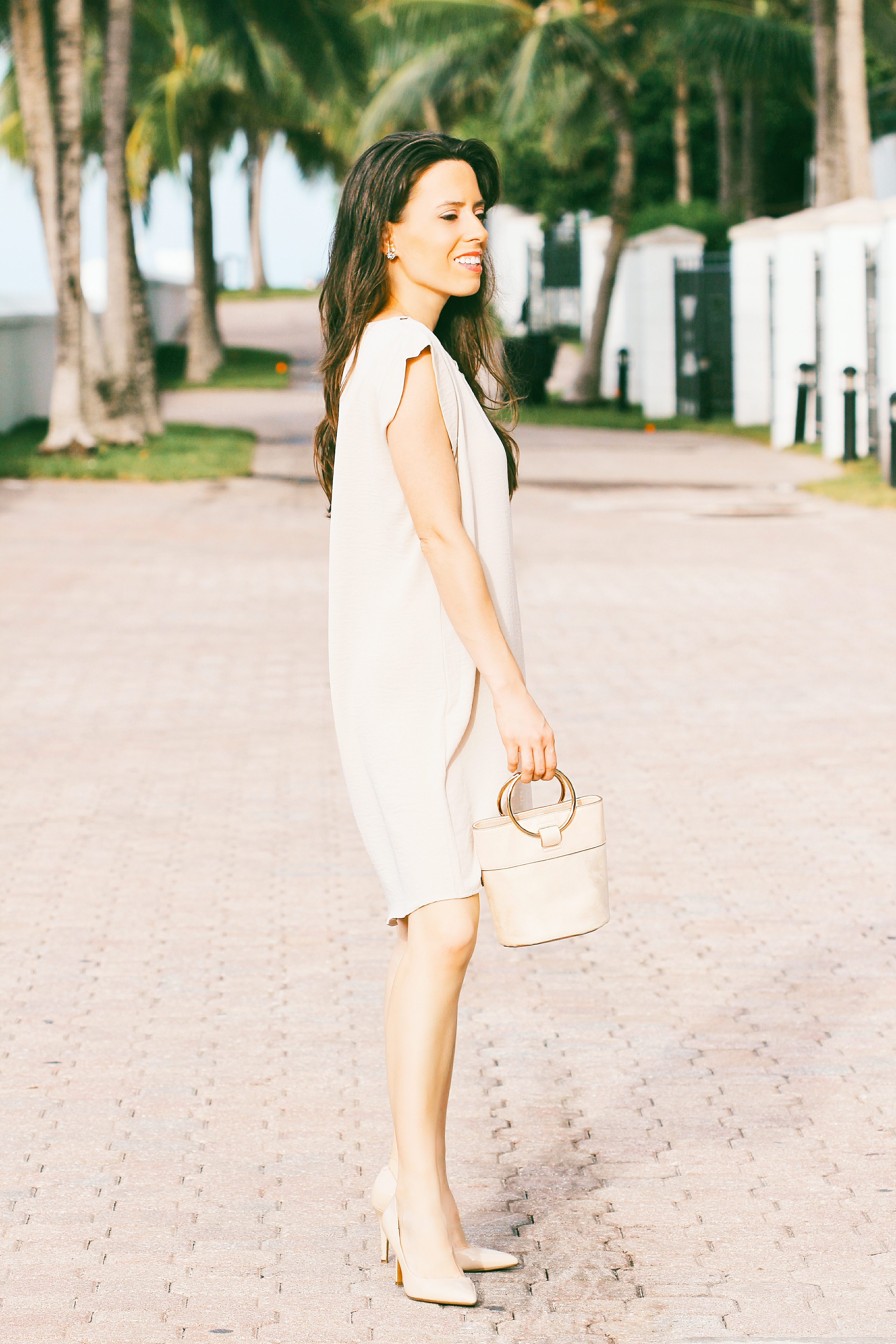 neutral midi dress