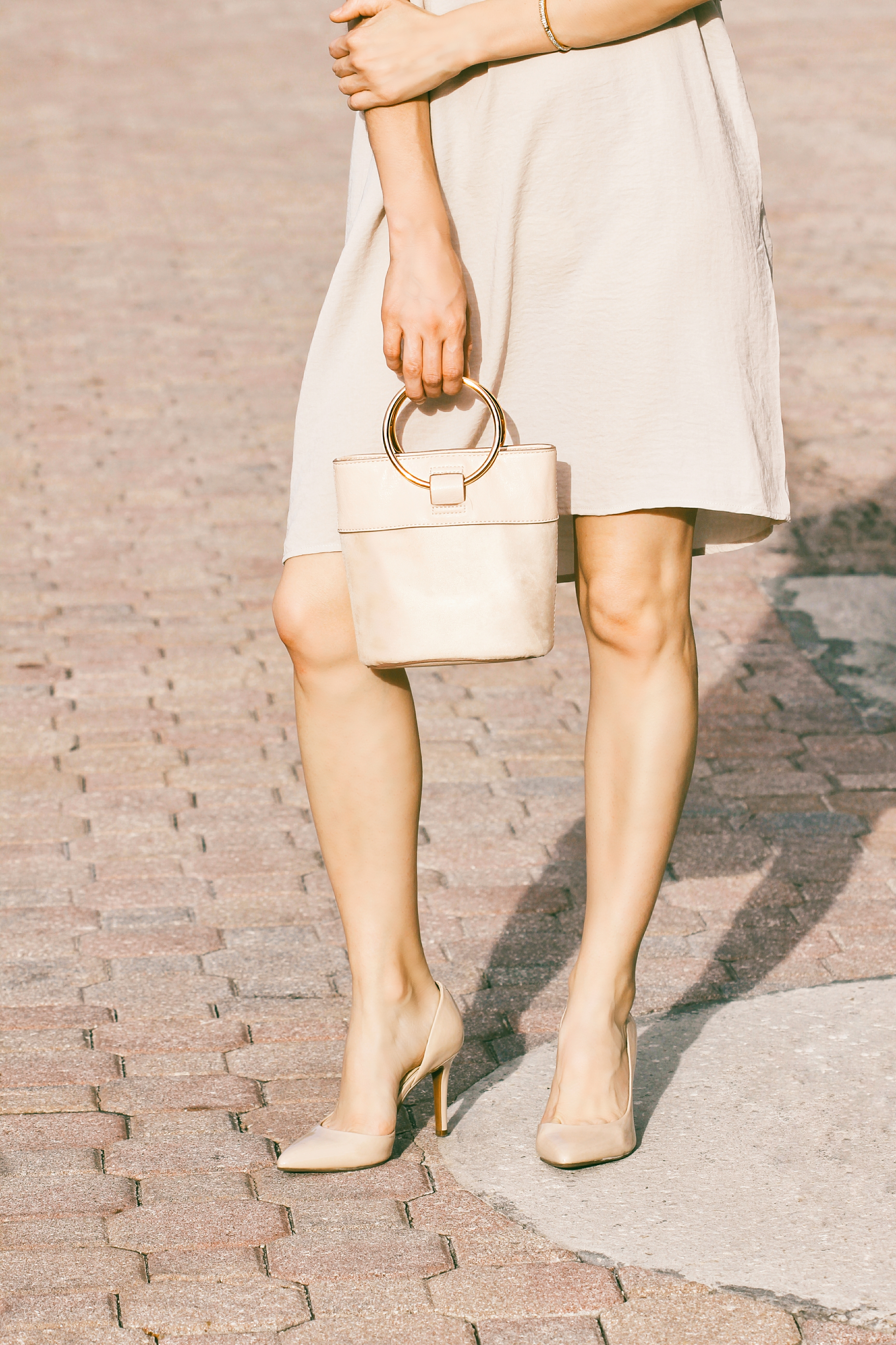 neutral bucket bag