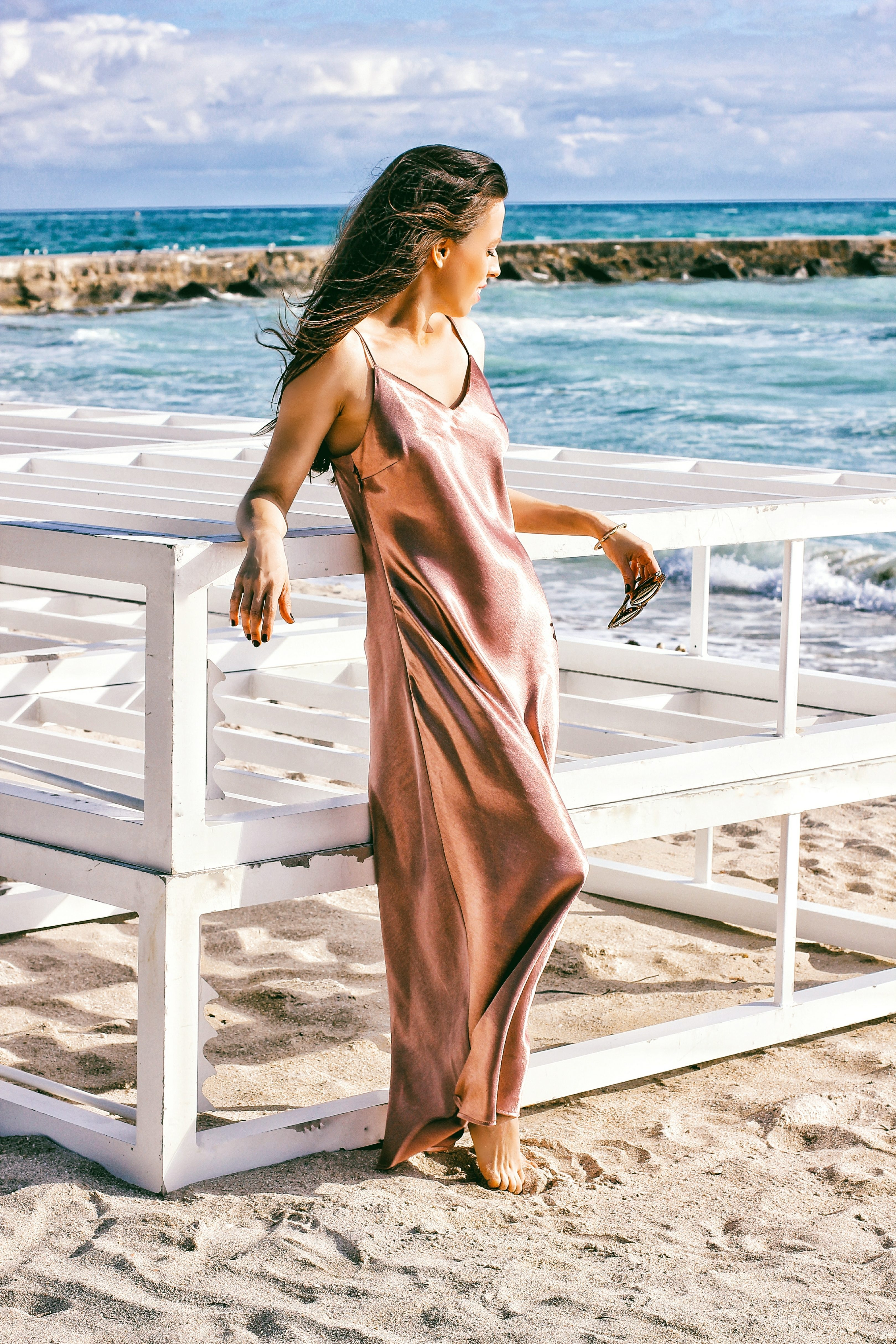 vince camuto satin dress
