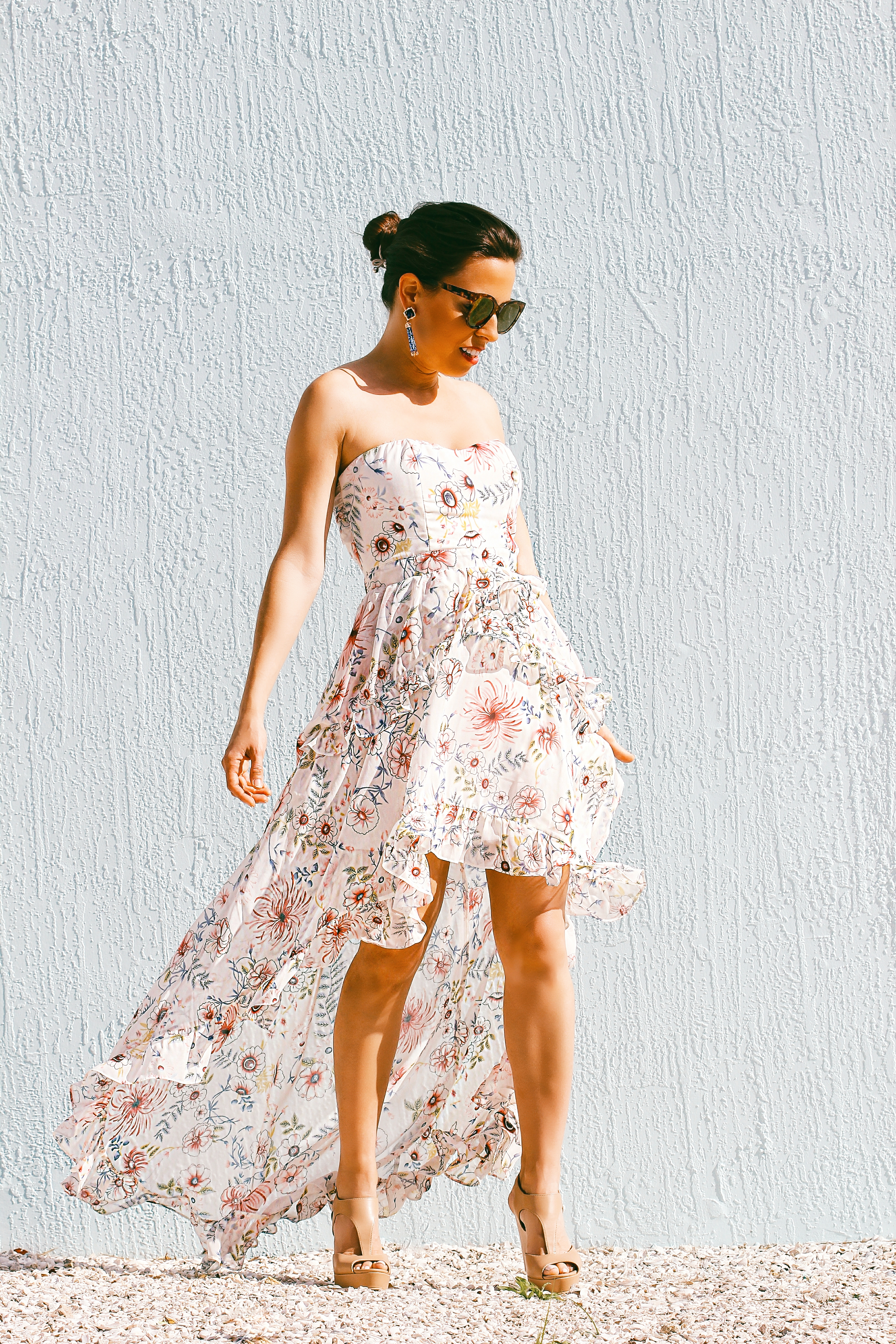 aqua floral strapless dress