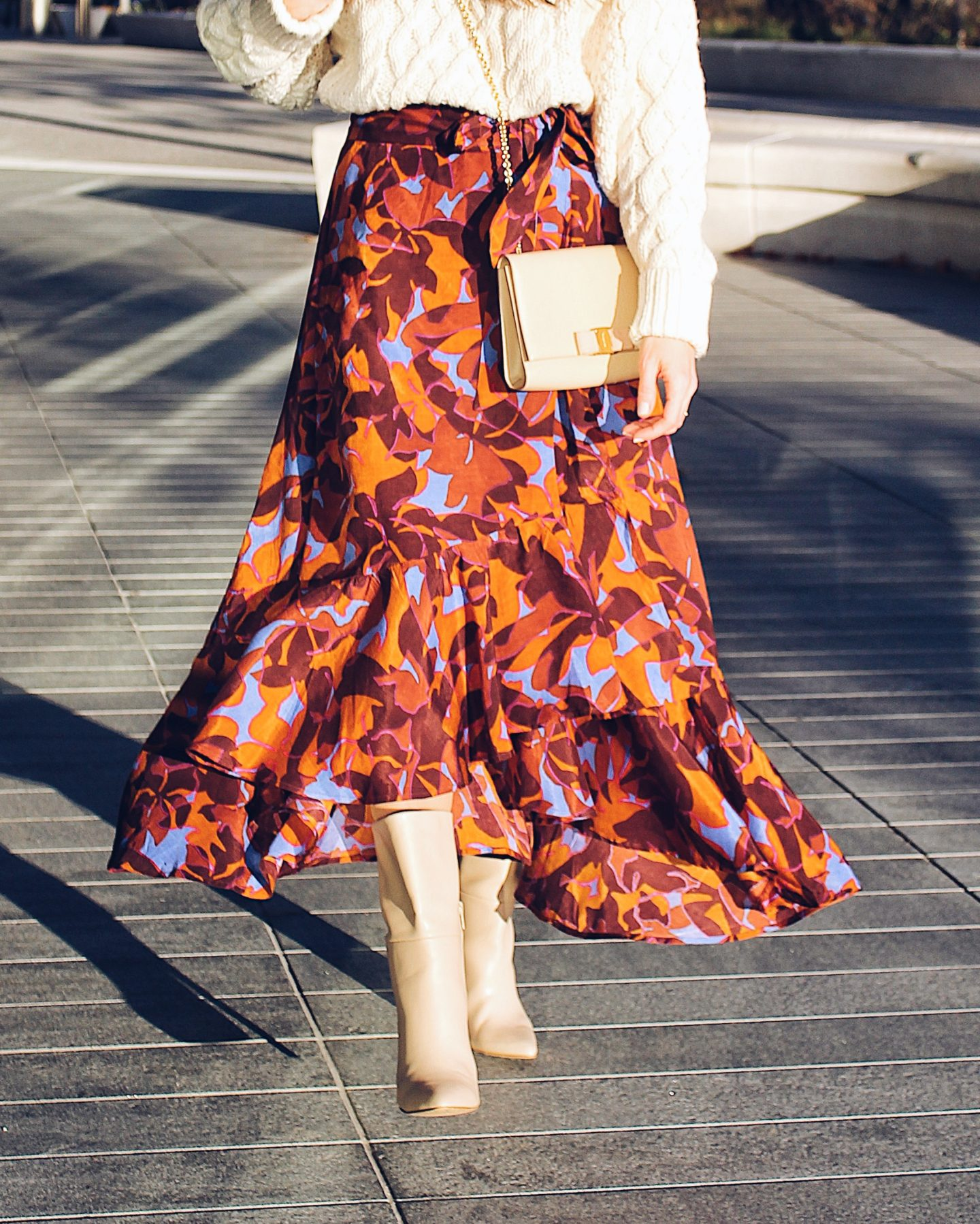 How to Wear a Floral Wrap Skirt Outfit Idea -- Ana Florentina