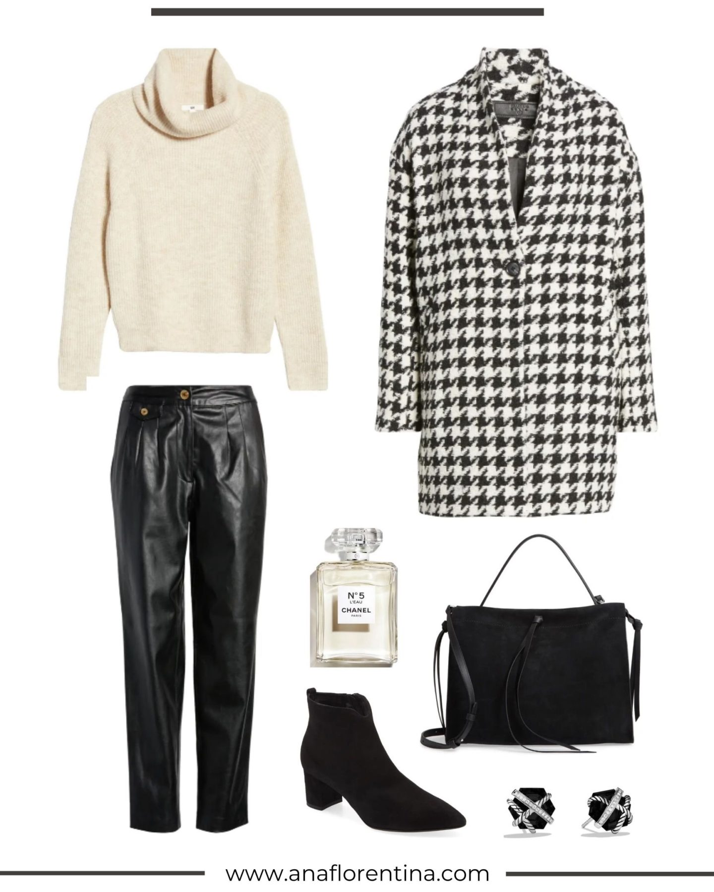 shop the look houndstooth coat outfit idea