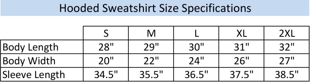 Hooded Sweatshirt Size Chart