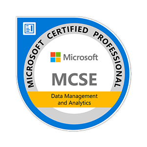 MCSE Data Management and Analytics certification badge