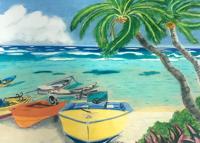 Russ art - boats by the ocean