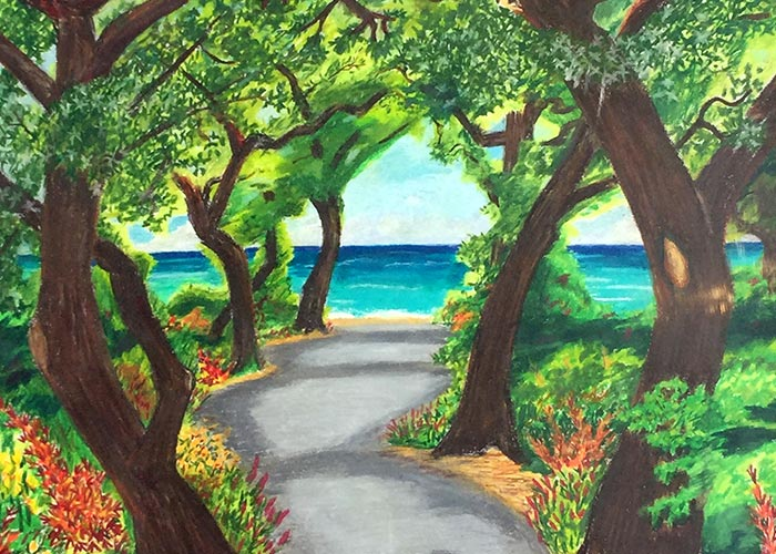 Russ art - trees by the ocean