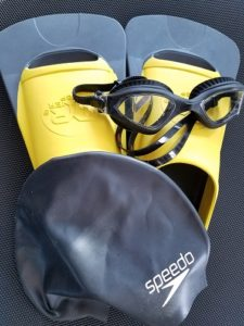 swimming as a sport, Flippers, goggles, and swimcap