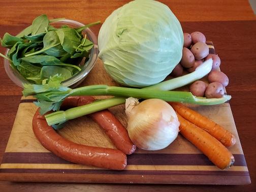 Cabbage, Potato, and Sausage soup