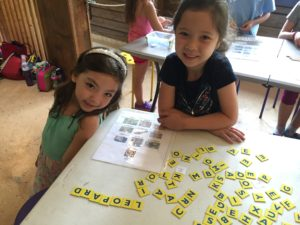students spell the names of wild cats