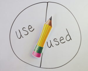the words use and used in a circle with a magnetic spinner