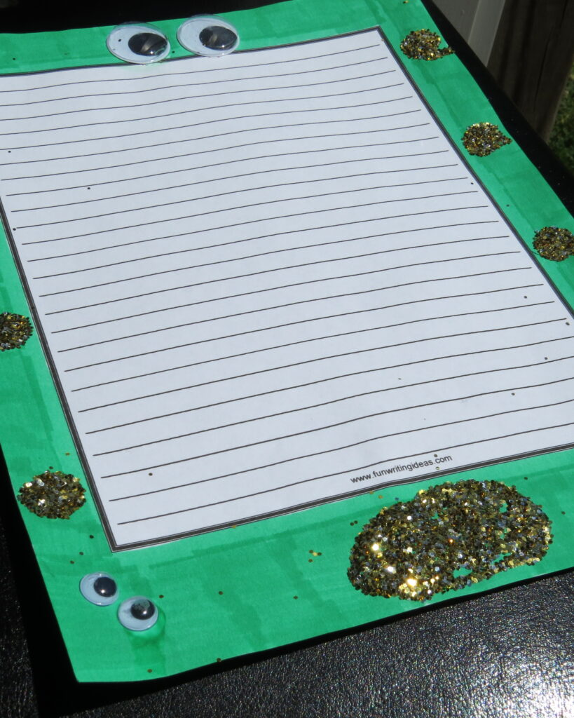 Green, Gold and Googly eyes for Jack and the beanstalk writing prompt, the Giant's perspective
