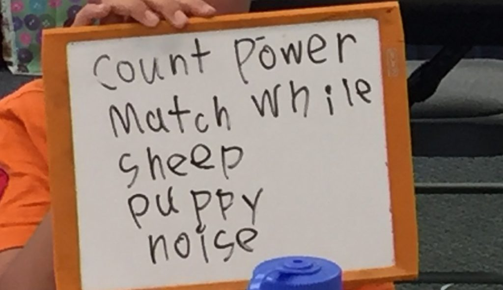 Students write words that have 5 letters